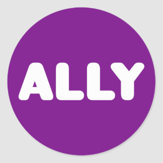 Ally LGBTQ Straight Ally Spirit Day White & Purple Round Sticker