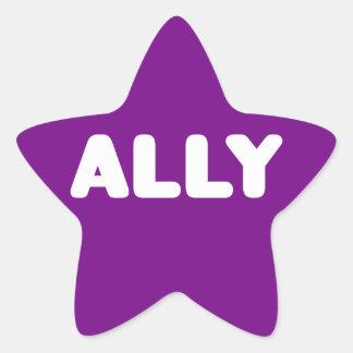 Ally LGBTQ Straight Ally Spirit Day White & Purple Star Sticker