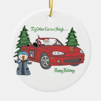 ALMC-Santa s Sleigh-Red Christmas Tree Ornament