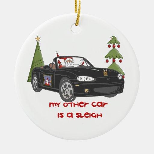 ALMC-Santa's Sleigh-Black Christmas Ornament