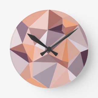Almond Beige Abstract Low Polygon Background Clock