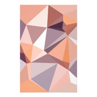 Almond Beige Abstract Low Polygon Background Personalized Stationery