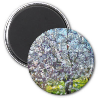 Almond Blossom 2 Inch Round Magnet