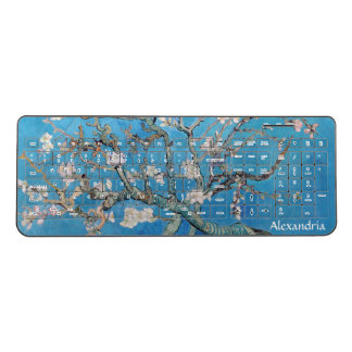 Almond Blossoms Blue Vincent van Gogh Art Painting Wireless Keyboard