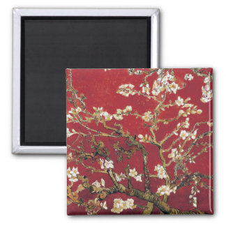 Almond Blossoms Red Vincent van Gogh Art Painting Square Magnet