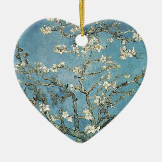 Almond branches in bloom, 1890, Vincent van Gogh Ceramic Heart Ornament