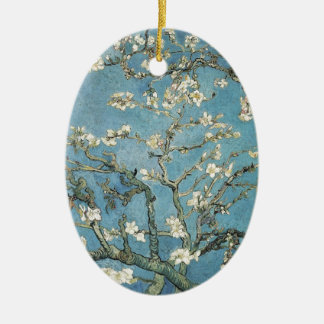 Almond branches in bloom, 1890, Vincent van Gogh Ceramic Oval Ornament