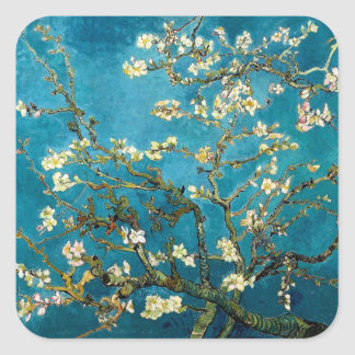 Almond Branches in Bloom Square Stickers
