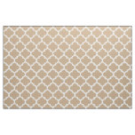 Almond Brown Moroccan Quatrefoil Trellis Fabric