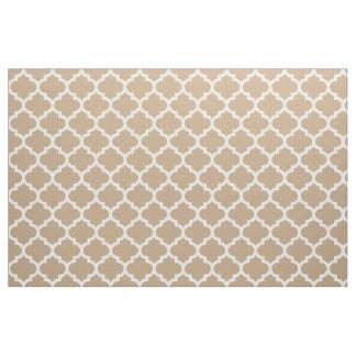 Almond Brown Moroccan Quatrefoil Trellis Fabric