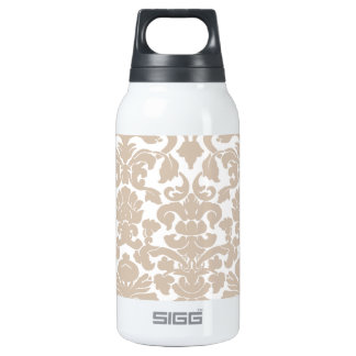 Almond Color Damask Pattern Insulated Water Bottle