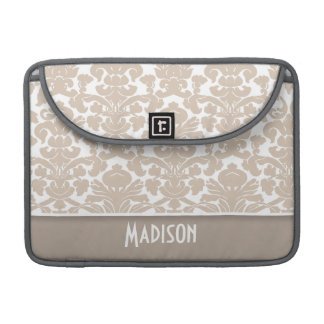 Almond Color Damask Pattern; Personalized MacBook Pro Sleeves