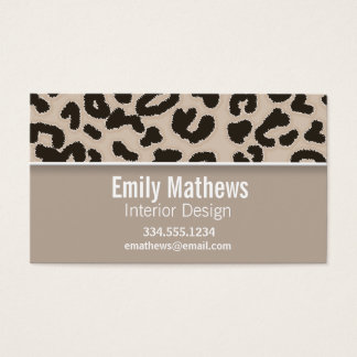 Almond Color Leopard Animal Print; Personalized Business Card