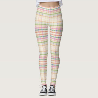 Almond Cream Leggings with Pink Plaid