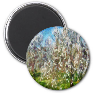 Almond Orchard Blossom 2 Inch Round Magnet