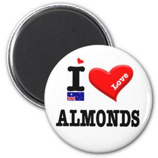ALMONDS - I Love 2 Inch Round Magnet