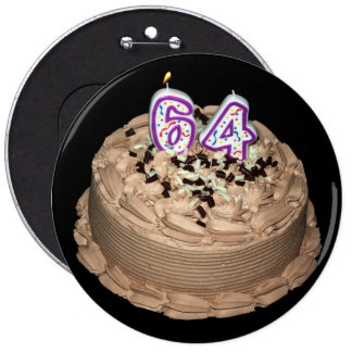 Almost 64... 64th Birthday Cake Button