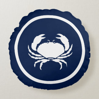 Almost Navy blue and white Lobster CRAB nautical Round Pillow