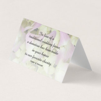 Almost Pink Hydrangea Wedding Charity Favors Place Card