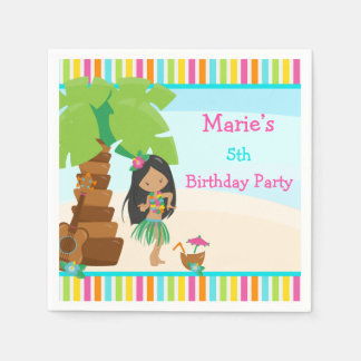 Aloha African American Girl Party Paper Napkin