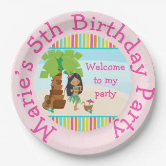 Aloha African American Girl Party Paper Plate