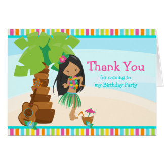 Aloha African American Girl Thank You Card