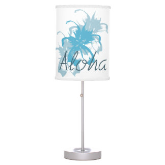 Aloha Aqua Blue Floral Desk Lamps