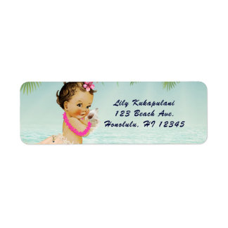 Aloha Baby Shower Hawaiian Retro Beach Invitation Return Address Label