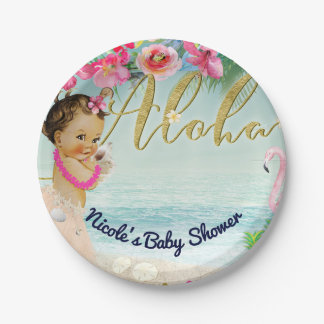 Aloha Baby Shower Retro Hawaiian Beach Party Paper Plate