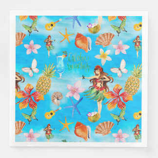 Aloha Beach Party Pattern with Hulagirl Paper Napkin