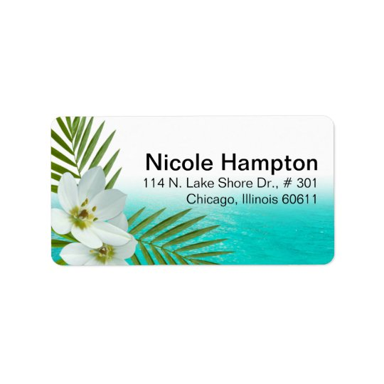 Aloha Beach Tropical Flowers Label