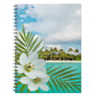 Aloha Beach Tropical Flowers Spiral Note Book