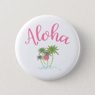 Aloha Beaches Hawaiian Style Summera 2 Inch Round Button