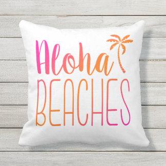 Aloha Beaches   Pink and Orange Pillow