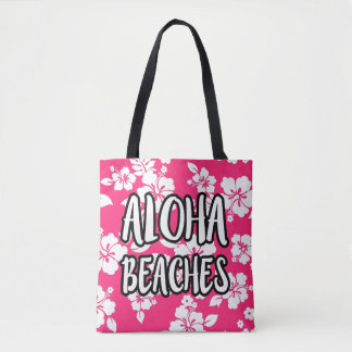 Aloha Beaches Pink Hibiscus tote bag