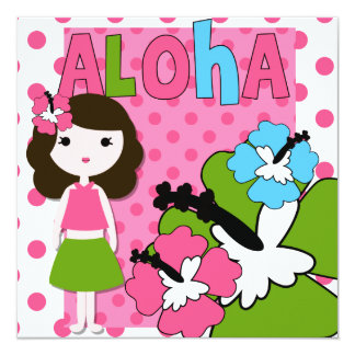 Aloha Birthday (Brown Hair Girl) Invitation