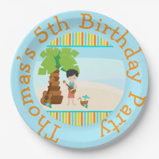 Aloha Black Hair Boy Paper Plate
