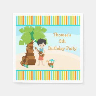 Aloha Black Hair Boy Party Paper Napkin