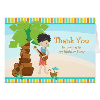 Aloha Black Hair Boy Thank You Card