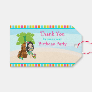 Aloha Black Hair Girl Gift Tag