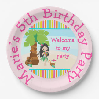 Aloha Black Hair Girl Party Paper Plate