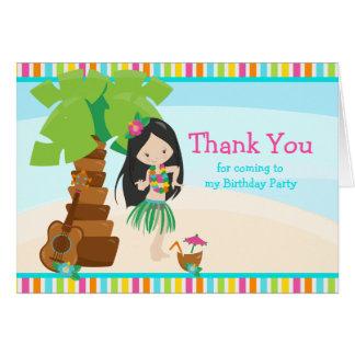 Aloha Black Hair Girl Thank You Card