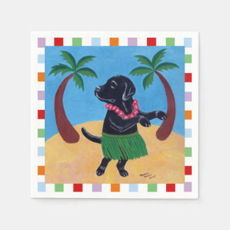 Aloha Black Lab Painting Paper Napkin