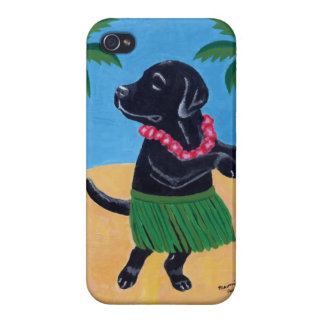 Aloha Black Labrador Painting Covers For iPhone 4