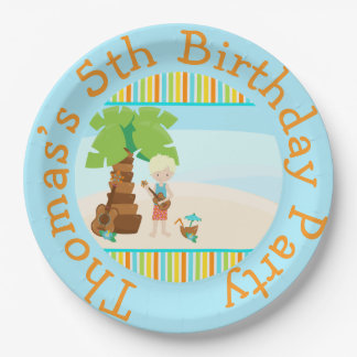 Aloha Blonde Hair Boy Paper Plate