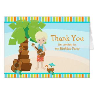 Aloha Blonde Hair Boy Thank You Card