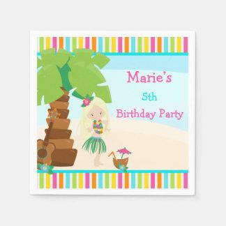 Aloha Blonde Hair Girl Party Paper Napkin