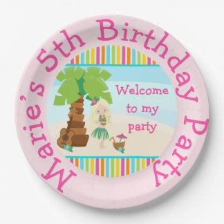 Aloha Blonde Hair Girl Party Paper Plate