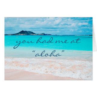 """Aloha"" blue water sandy beach photo blank inside Card"