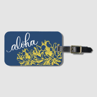 Aloha Blue Yellow Cereus Flowers Luggage Tags